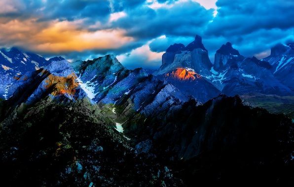 Picture the sky, clouds, light, landscape, sunset, mountains, clouds, nature, Chile