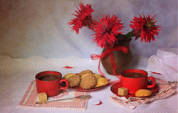 Picture flowers, red, style, tea, color, texture, cookies, Cup, sugar, still life