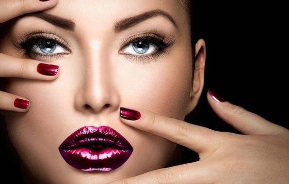 Picture eyes, look, girl, face, eyelashes, background, model, lips, fingers, manicure