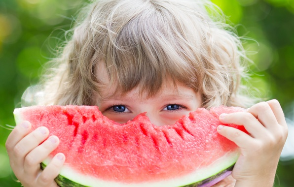 Picture watermelon, child, blue-eyed, hunk