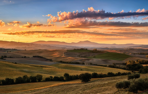 Picture summer, the sky, clouds, light, field, Italy, Tuscany, August