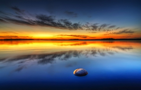 Picture sea, the sky, clouds, sunset, stone
