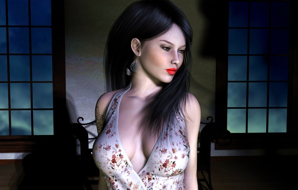 Picture girl, face, rendering, room, hair, Windows, earrings, makeup, tattoo, black, glsv