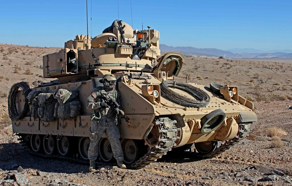 Picture USA, USA, military equipment, M2 Bradley, infantry fighting vehicle, soldier, M2 Bradley