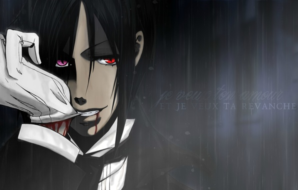 Photo Wallpaper Blood The Demon Red Eyes Kuroshitsuji Sebastian Michaelis