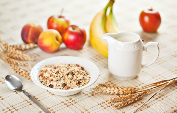 Picture wheat, table, background, apples, plant, rye, Apple, food, Breakfast, spoon, bananas, fruit, widescreen, full screen, …