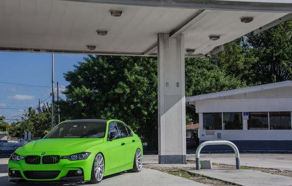 Picture BMW, BMW, Lights, Green, Tuning, F30, 330d, Matte Green