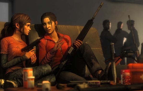 Picture girl, gun, weapons, girl, Left 4 Dead, crossover, Zoey, The Last of Us, Ellie, atomate