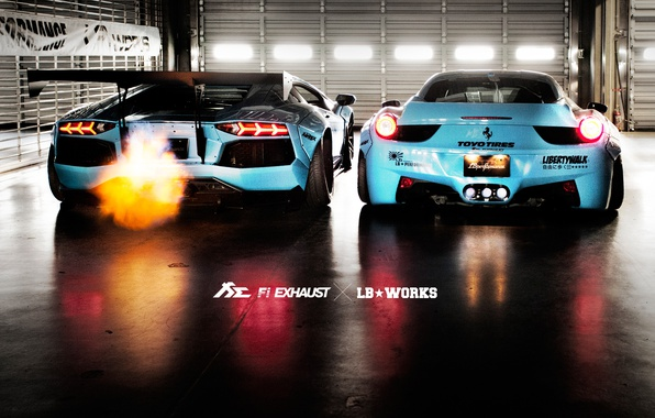 Picture Lamborghini, Ferrari, 458, Aventador, Italia, LP700, Liberty Walk, Fi Exhaust