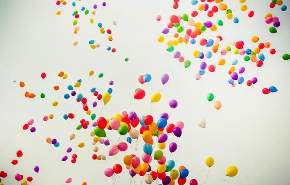 Picture flight, joy, color, rainbow, balloons