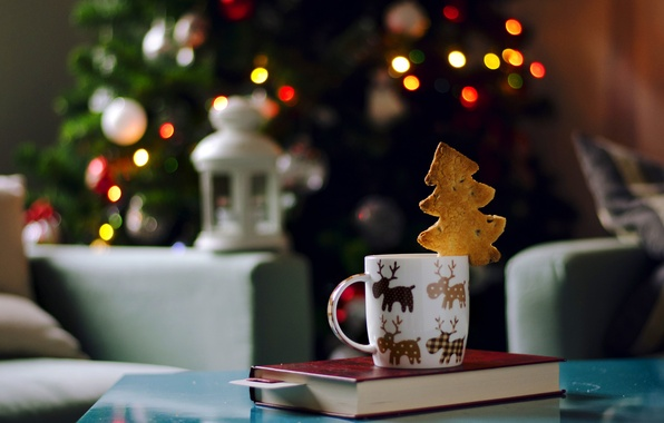 Picture lights, chair, New Year, cookies, Christmas, flashlight, lantern, Cup, book, tree, garland, holidays, herringbone