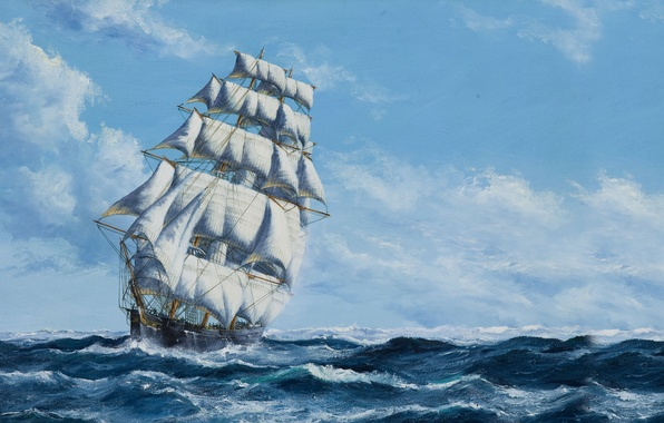 Picture The sky, Sea, Figure, Ship, Sailboat, Sails, Painting