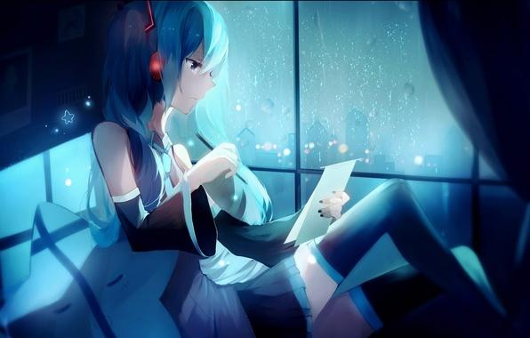Picture girl, night, the city, rain, home, anime, headphones, art, pencil, vocaloid, hatsune miku, lococo