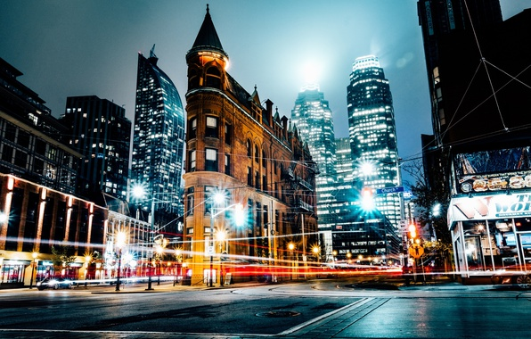 Picture night, the city, lights, excerpt, street