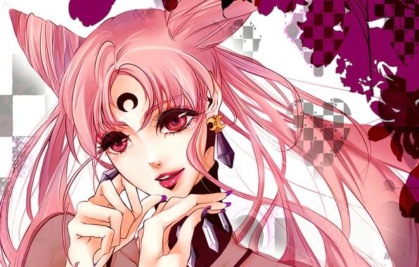 Picture girl, decoration, smile, earrings, red eyes, tails, Bishoujo Senshi Sailor Moon, Black Lady, Chibiusa