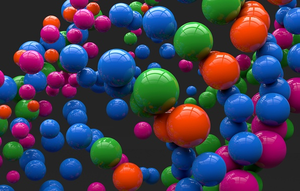 Picture balls, reflection, balls, colored, art, grey background, sphere