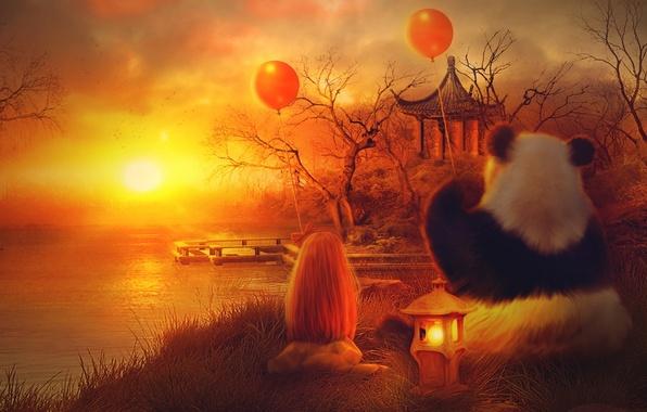 Picture the sun, balls, trees, sunset, orange, lake, house, Panda, girl, lantern