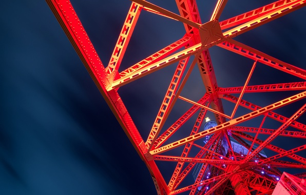 Picture abstract, red, night, steel