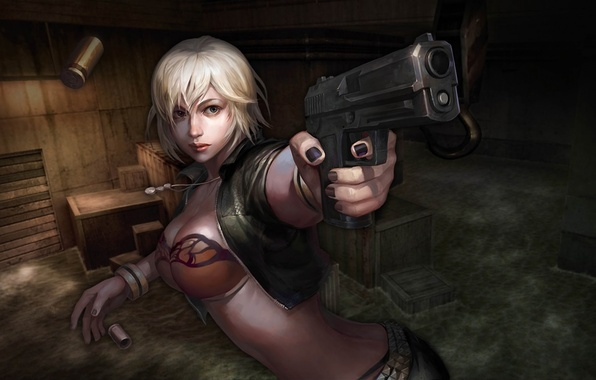 Picture water, girl, darkness, gun, boxes, sleeve, online, bust, Counter Strike
