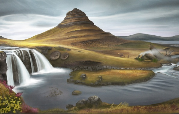Picture grass, clouds, river, hills, waterfall, art, painted landscape