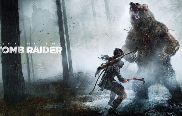 Picture Girl, Trees, Forest, Rain, Bear, Bow, Lara Croft, Lara Croft, Rise of the: Tomb Raider, …