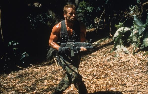 Picture man, jungle, soldiers, actor, Predator, Predator, Arnold Schwarzenegger, Arnold Schwarzenegger, Dutch