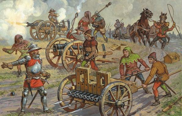 Picture war, figure, art, team, bags, bucket, the front, artillery, horses, two, A. Averyanov, Bannik, gunpowder, …
