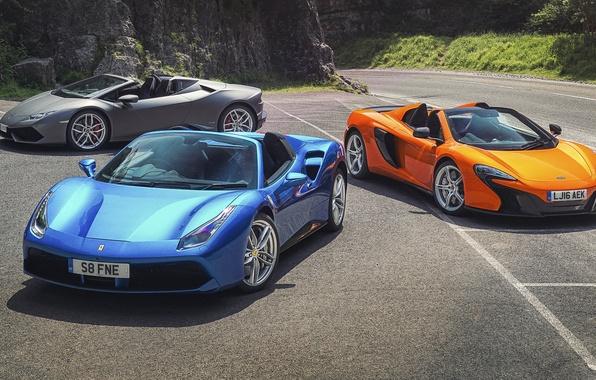 Picture McLaren, Lamborghini, Ferrari, cars, Spyder, supercars, supercars, Spider, Huracan, 650S, 488 GTB