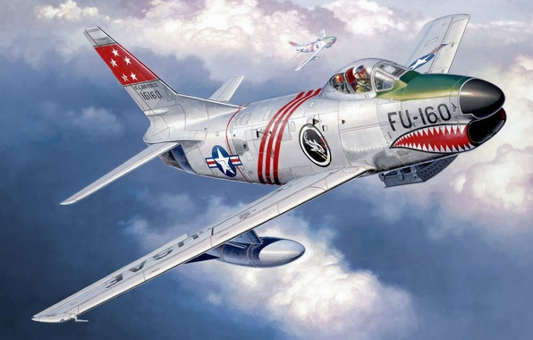 Picture war, art, airplane, painting, aviation, jet, ww2, North American F-86D Sabre
