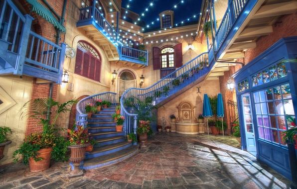 Picture design, the city, photo, HDR, interior, lights, CA, ladder, USA, garland, Disneyland