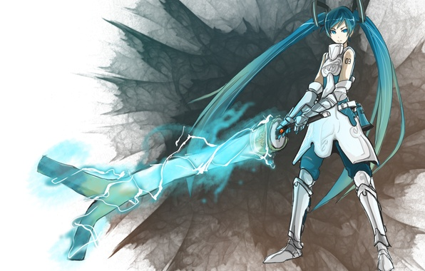 Picture sword, armor, bow, sword, vocaloid, Vocaloid, Miku Hatsune, Miku hatsune