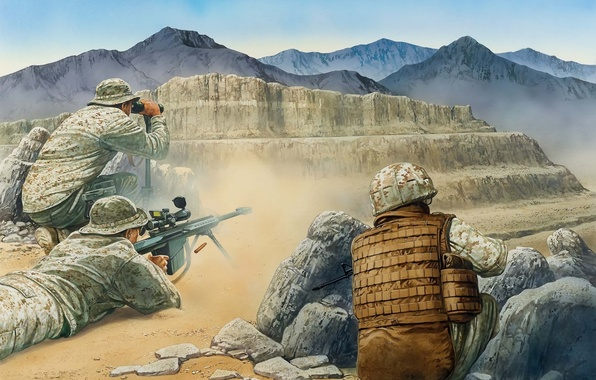 Picture mountains, weapons, art, soldiers, equipment, Afghanistan