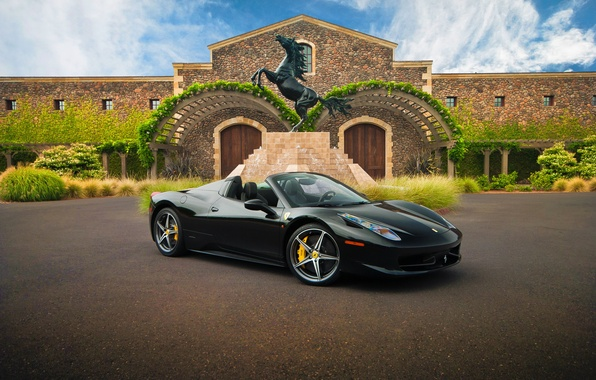 Picture supercar, Ferrari, black, rechange, hq Wallpapers, Ferrari 458 Spider