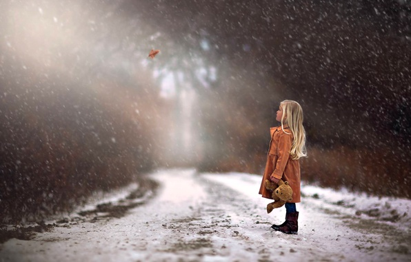 Picture winter, road, autumn, forest, trees, Nature, girl