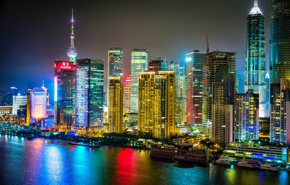 Picture river, China, building, China, Shanghai, Shanghai, night city, skyscrapers