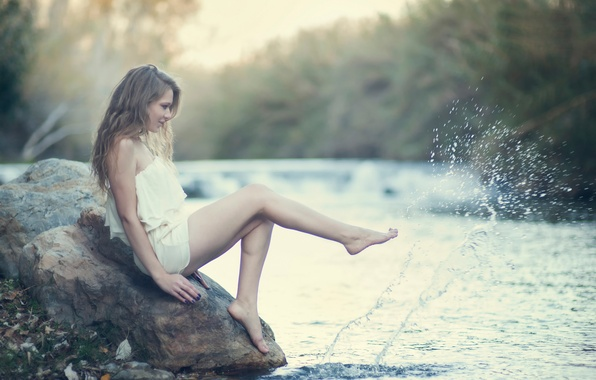 Picture water, girl, squirt, stone, legs