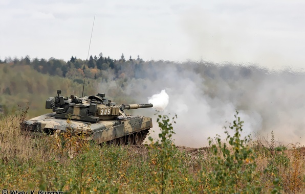 Picture smoke, shot, T-80, Tank troops of the Russian Federation
