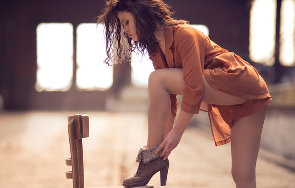 Picture girl, shoes, chair, legs, Street shoes