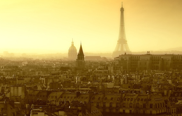 Picture roof, the sky, country, city, street, Eiffel tower, Windows, Paris, home, morning, roof, window, France, …
