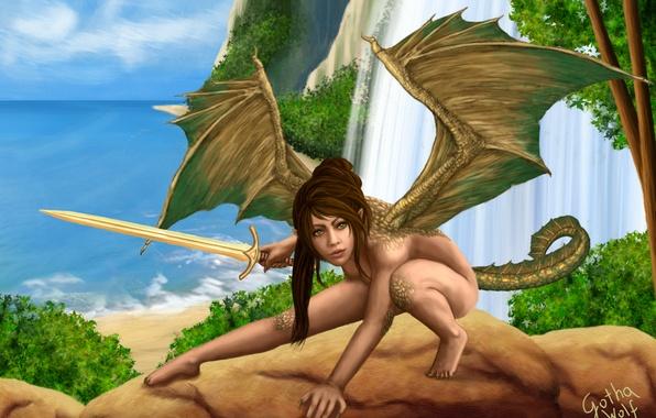 Picture sea, girl, rocks, waterfall, wings, sword, fantasy, art, tail, Barbara Kisło