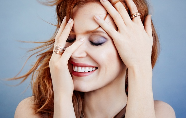 Picture face, smile, mood, hands, makeup, advertising, actress, hairstyle, red, photoshoot, brand, closeup, Jessica Chastain, Jessica …