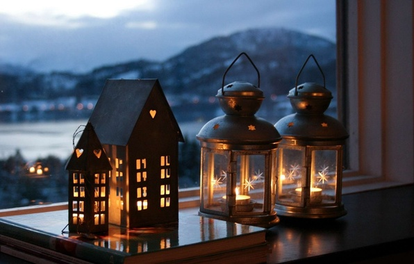 Picture the city, lamp, mood, the evening, candles, window