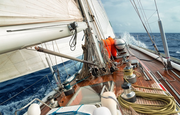 Picture sea, wave, the sky, squirt, the wind, stay, speed, yacht, horizon, sail, deck, summer, sky, …