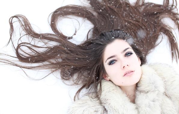 Picture winter, snow, snowflakes, hair, brunette, coat
