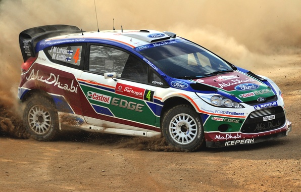 Picture Ford, Auto, Dust, Sport, Machine, Ford, Skid, WRC, Rally, Rally, Fiesta, Side view