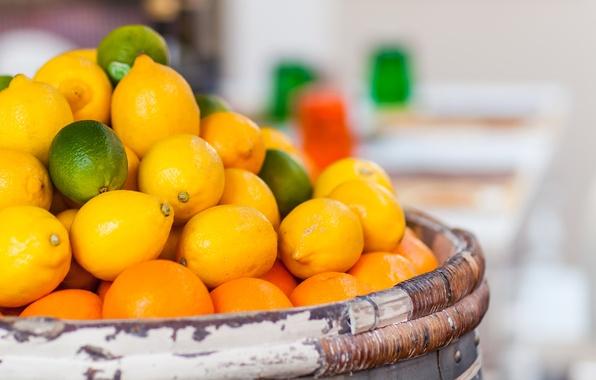 Photo wallpaper focus, oranges, blur, lime, fruit, barrel, citrus, lemons