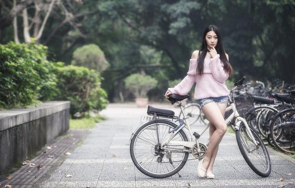 Picture girl, bike, street, Asian
