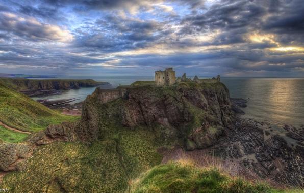 Picture sea, clouds, sunset, rock, castle, coast, Scotland, horizon, panorama, rock, Of dunnottar, Dunnottar Castle