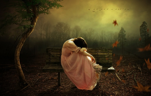 Picture autumn, girl, bench