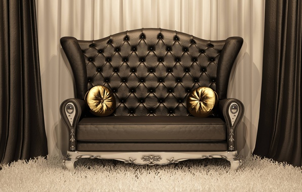 Picture style, gold, carpet, pillow, Sofa, leather, curtains